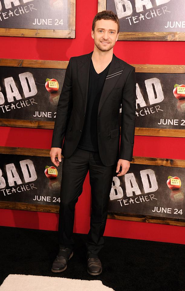"""<a href=""""http://movies.yahoo.com/movie/contributor/1802867309"""">Justin Timberlake</a> at the New York City premiere of <a href=""""http://movies.yahoo.com/movie/1810150690/info"""">Bad Teacher</a> on June 21, 2011."""