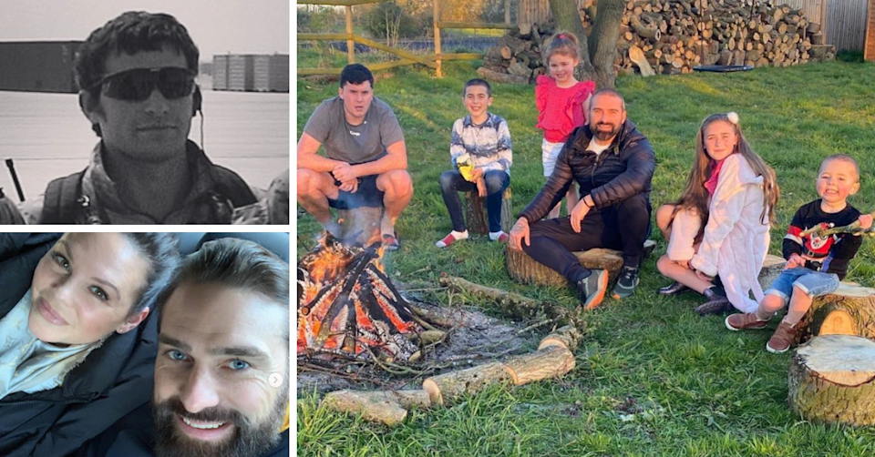 SAS Ant Middleton during his time in the military, with wife Emilie and with his five children.