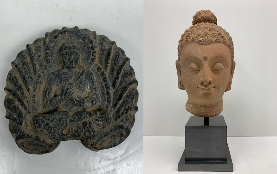 Recovered Afghan artifacts: Seated figure with leaves - 3rd century AD - valued at $2000;  and, Head of Buddha - 3rd-4th century AD - valued at $15,000. (New York District Attorney's Office  [2})