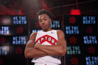 Toronto Raptors' Scottie Barnes poses for a photograph at Scotiabank Arena during the NBA basketball team's media day in Toronto, Monday, Sept. 27, 2021. (Cole Burston/The Canadian Press via AP)