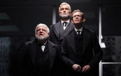 Simon Russell Beale, Ben Miles and Adam Godley in The Lehman Trilogy  - Credit: Mark Douet