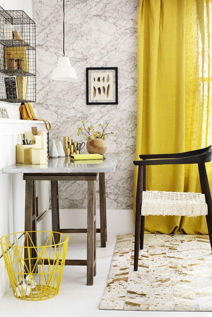 <p>Turn your bonus room into a dedicated workspace with a chic desk, colorful supplies, and just enough shelving for books and papers. </p>