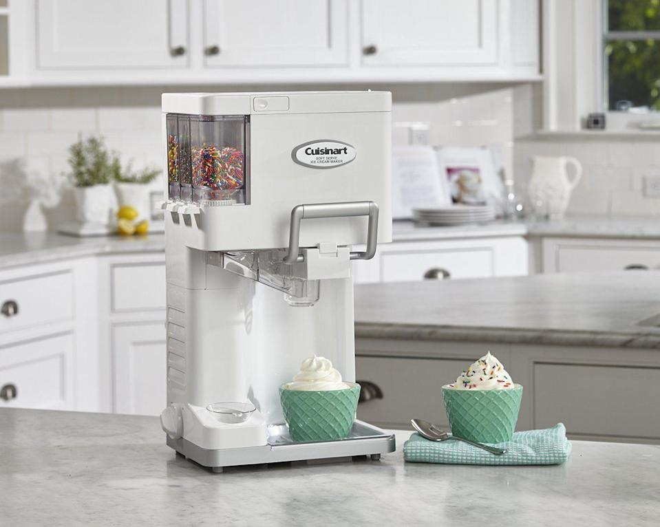 """<p><strong>Cuisinart</strong></p><p>walmart.com</p><p><strong>$89.95</strong></p><p><a href=""""https://go.redirectingat.com?id=74968X1596630&url=https%3A%2F%2Fwww.walmart.com%2Fip%2F43921361&sref=https%3A%2F%2Fwww.thepioneerwoman.com%2Ffood-cooking%2Fg36080315%2Fbest-ice-cream-makers%2F"""" rel=""""nofollow noopener"""" target=""""_blank"""" data-ylk=""""slk:Shop Now"""" class=""""link rapid-noclick-resp"""">Shop Now</a></p><p>You have everything you need with this ice cream maker: There's a place to hold toppings like sprinkles, a spot where you can stack your cones, and a place to rest your bowl while you dole out a generous portion of soft serve. </p>"""
