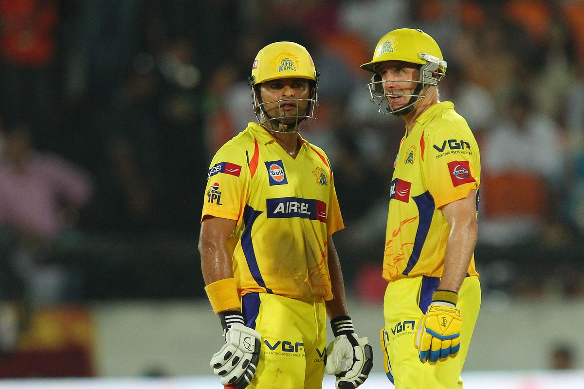 Suresh Raina and Michael Hussey during match 54 of the Pepsi Indian Premier League between The Sunrisers Hyderabad and Chennai Superkings held at the Rajiv Gandhi International  Stadium, Hyderabad  on the 8th May 2013..Photo by Ron Gaunt-IPL-SPORTZPICS ..Use of this image is subject to the terms and conditions as outlined by the BCCI. These terms can be found by following this link:..https://ec.yimg.com/ec?url=http%3a%2f%2fwww.sportzpics.co.za%2fimage%2fI0000SoRagM2cIEc&t=1506444521&sig=NVIwgL1h2Ocxt5mT0Z6rUw--~D