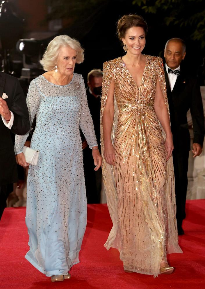 """<div class=""""inline-image__title"""">1343626443</div> <div class=""""inline-image__caption""""><p>Catherine, Duchess of Cambridge, and Camilla, Duchess of Cornwall, attend the """"No Time To Die"""" World Premiere at Royal Albert Hall on September 28, 2021 in London, England.</p></div> <div class=""""inline-image__credit"""">Chris Jackson/Getty Images</div>"""