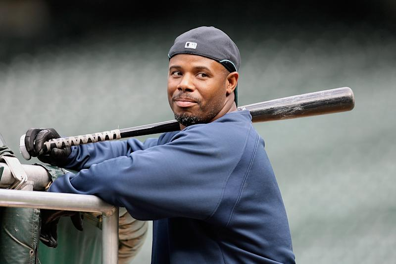 Ken Griffey Jr. #24 of the Seattle Mariners watches batting practice prior to the game against the New York Yankees at Safeco Field on August 14, 2009 in Seattle, Washington. The Yankees won 4-2. (Photo by Otto Greule Jr/Getty Images)