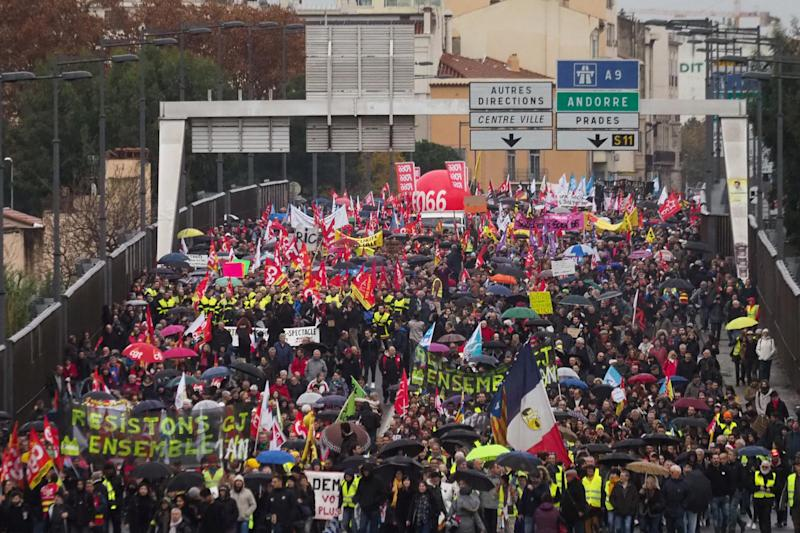 People protest against the pension overhauls, in Perpignan, southern France, on 5 December 2019 as part of a national general strike: AFP/Getty
