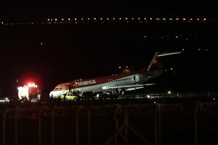 An Avianca airlines Fokker 100 aircraft is seen after making an emergency landing at the Juscelino Kubitschek international airport in Brasilia