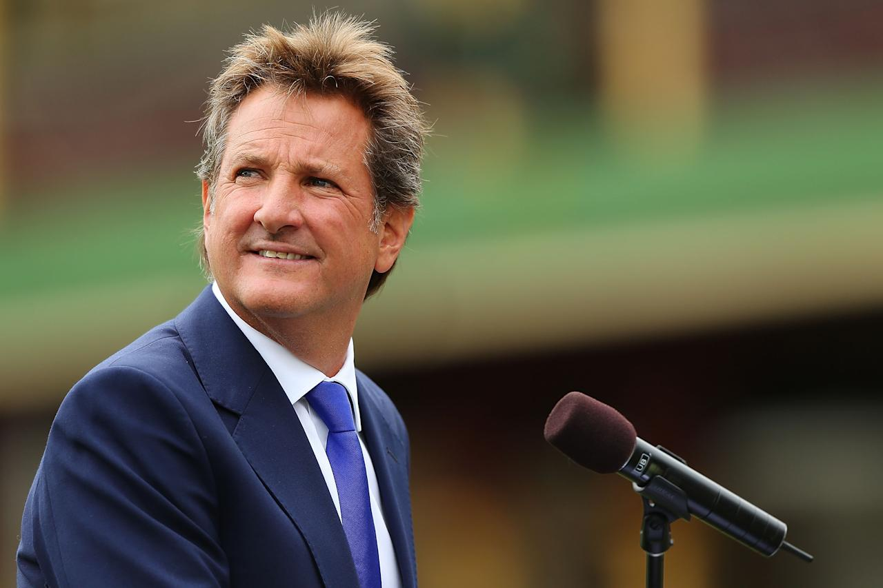 SYDNEY, AUSTRALIA - JANUARY 20:  Mark Nicholas speaks on stage during the Tony Greig memorial service at Sydney Cricket Ground on January 20, 2013 in Sydney, Australia.  (Photo by Brendon Thorne/Getty Images)