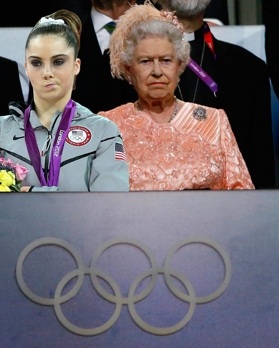 McKayla Maroney and Queen Elizabeth II are equally not impressed with the Opening Ceremony.