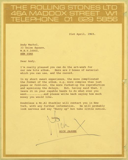 Here's the 1969 Mick Jagger letter to Andy Warhol about