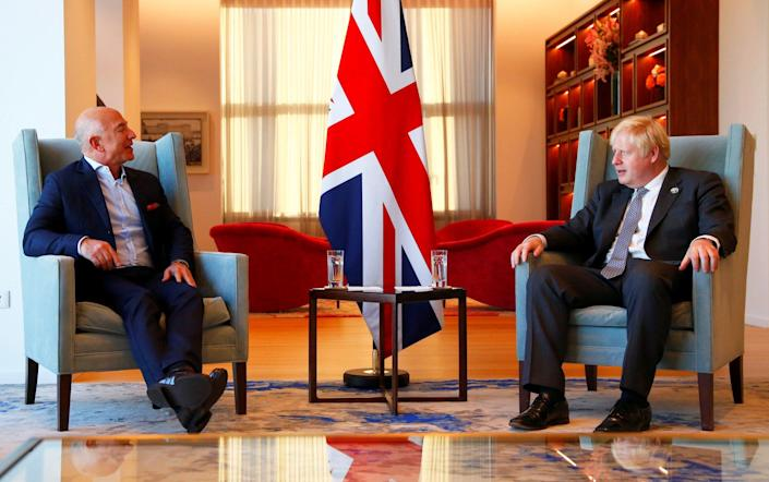 The Prime Minister discussed tax with Jeff Bezos, the founder of Amazon, in New York on Tuesday - Michael M. Santiago/Pool via REUTERS