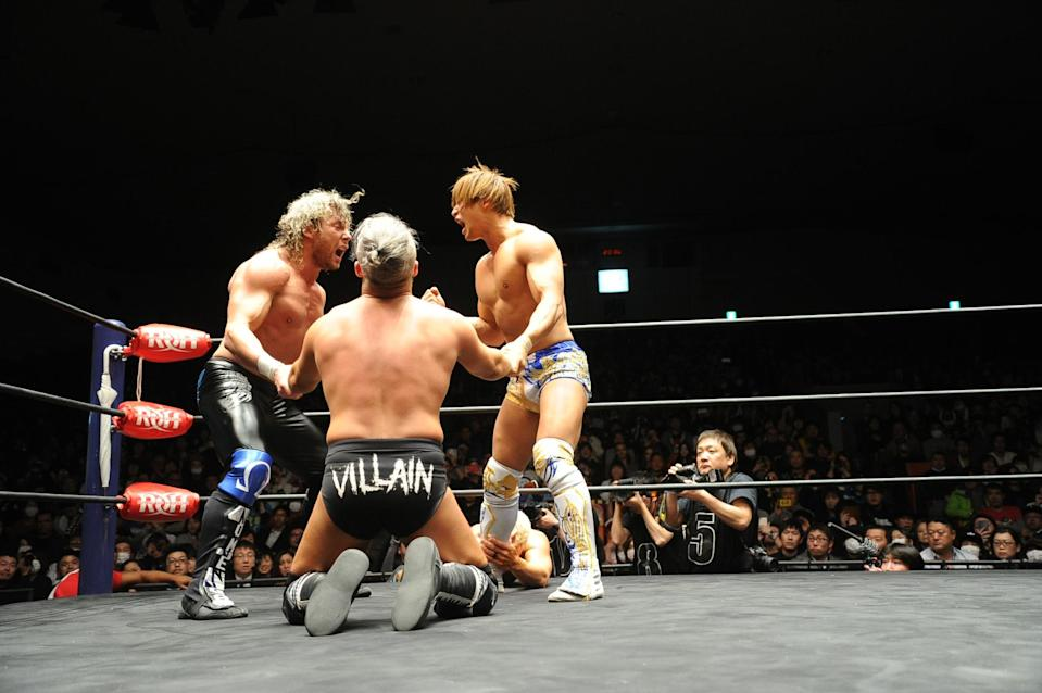 Kenny Omega (left) and Kota Ibushi (right) make up the tag team of The Golden Lovers. (AXS-TV)