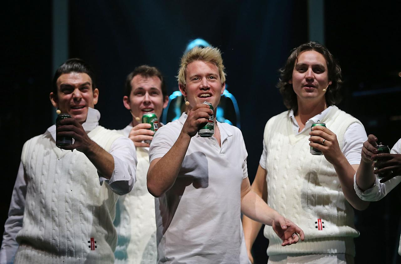 "MELBOURNE, AUSTRALIA - JUNE 20:  Eddie Perfect who plays Shane Warne holds a can of beer as he sings during a ""Shane Warne The Musical' media call at the Arts Centre Melbourne on June 20, 2013 in Melbourne, Australia. Shane Warne The Musical is a musical comedy based on the life of Australian cricketer Shane Warne.  (Photo by Scott Barbour/Getty Images)"