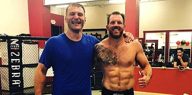 Stipe Miocic and Ryan Bader in training