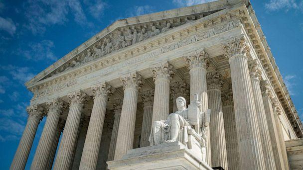 PHOTO: The Guardian or Authority of Law, created by sculptor James Earle Fraser, rests on the side of the U.S. Supreme Court on Sept. 28, 2020, in Washington, D.C. (Al Drago/Getty Images)