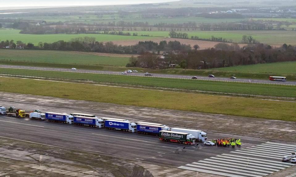 Lorries parked in a queue during a trial at the former Manston Airport site in Kent (Picture: PA)