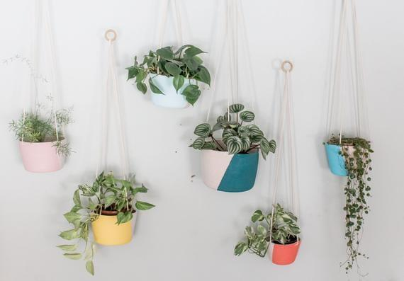 <p>Hard-to-kill pothos plants fit perfectly in these playful <span>Color Block Hanging Planters</span> ($34) from Etsy. One hangs in our kitchen, and another is mounted near a workspace.</p>
