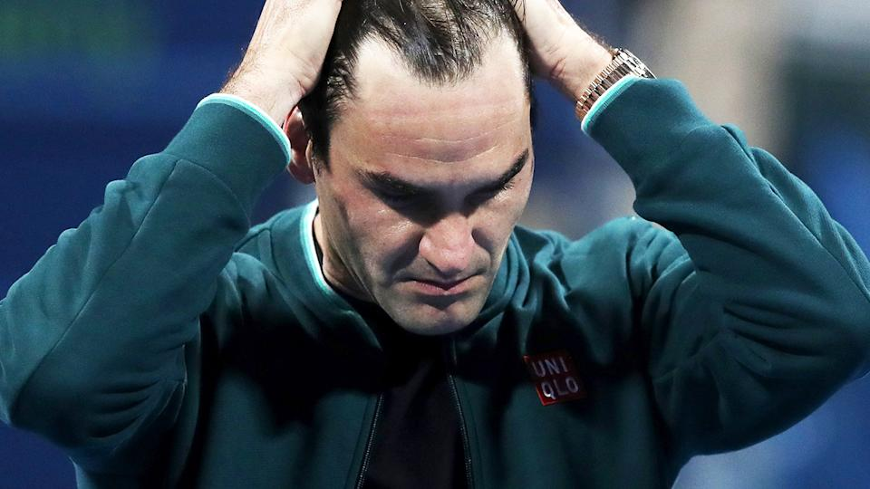 Roger Federer, pictured here after winning his match against Dan Evans at the Qatar Open.