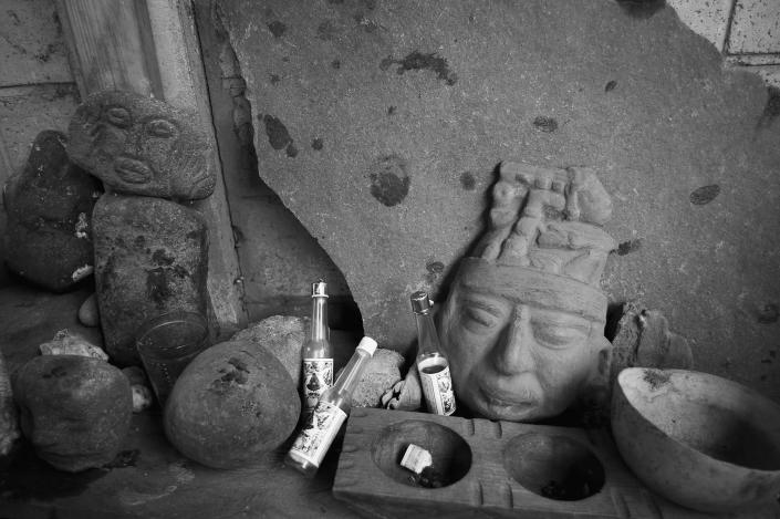 <p>Sacred altar at the dwelling of Tata' Xuan, a shaman. (Photograph by Fran Antmann) </p>