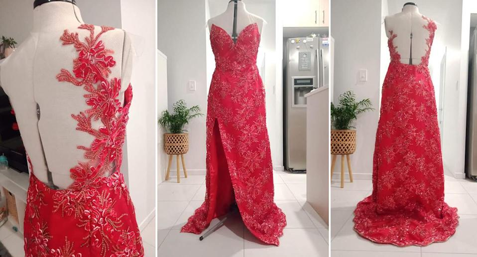 A custom-made evening gown Valerie Diola created.