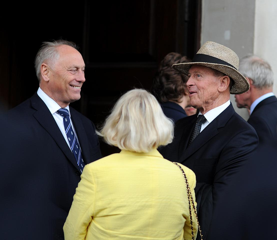 LONDON, ENGLAND - JUNE 24: Colin Graves and Geoffrey Boycott attend the Memorial Service for Tony Greig on June 24, 2013 in London, England. (Photo by Charlie Crowhurst/Getty Images)