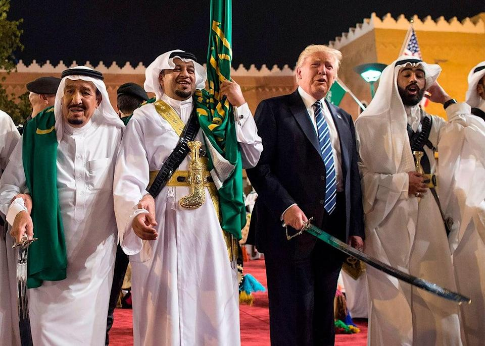 Trump at the Saudi Royal Palace in May 2017, a trip which launched a dramatic relationship revamp that freed the hands of the Gulf monarchies. (Photo by BANDAR AL-JALOUD/Saudi Royal Palace/AFP via Getty Images) (Saudi Royal Palace/AFP via Getty)