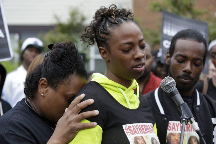 Monika Williams, center, after her sister, Charleena Lyles, was shot and killed by Seattle police.