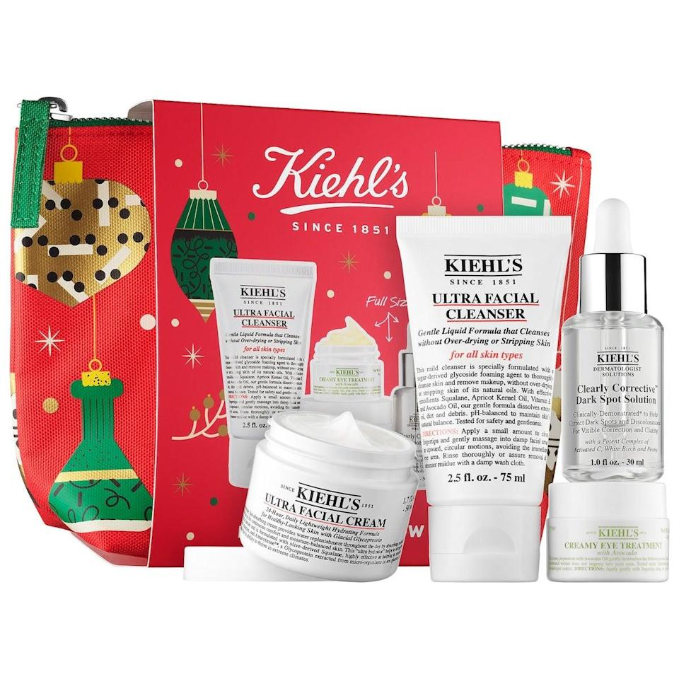 "<h3>Kiehl's Brighten Up &amp; Glow</h3> <br> This luxe Kiehl's set contains four bestselling products suitable for all skin types, encased in a festive red pouch. <br> <br> <strong>Kiehl's</strong> Brighten Up & Glow, $, available at <a href=""https://go.skimresources.com/?id=30283X879131&amp;url=https%3A%2F%2Fwww.sephora.com%2Fproduct%2Fkiehls-brighten-up-glow-P461174"" rel=""nofollow noopener"" target=""_blank"" data-ylk=""slk:Sephora"" class=""link rapid-noclick-resp"">Sephora</a>"