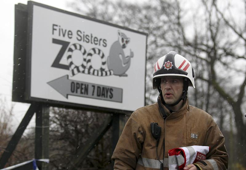 A Firefighter views the damage to the reptile house at the Five Sisters Zoo in Polbeth, Scotland, Sunday April 14, 2013. Around 50 firefighters have been tackling an early morning blaze at the zoo. (AP Photo / Andrew Milligan, PA) UNITED KINGDOM OUT - NO SALES - NO ARCHIVES