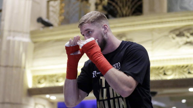 Otto Wallin, of Sweden, attends an open workout Tuesday, Sept. 10, 2019, in Las Vegas. Wallin will face Tyson Fury in a heavyweight boxing match Saturday. (AP Photo/Isaac Brekken)