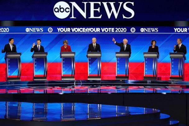 PHOTO: Democratic presidential candidates participate in the Democratic presidential primary debate in the Sullivan Arena at St. Anselm College on February 07, 2020 in Manchester, New Hampshire. (Joe Raedle/Getty Images)