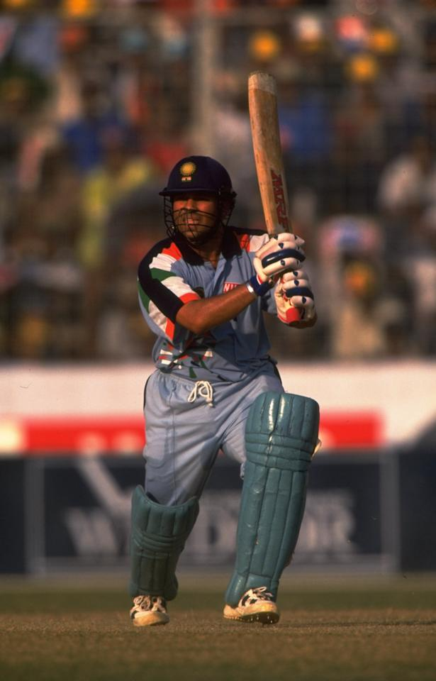 Oct 1998:  Sachin Tendulkar of India in action during the Wills International Cup at the Bangabandhu Nation Stadium in Dhaka, Bangladesh. \ Mandatory Credit: Stu Forster /Allsport