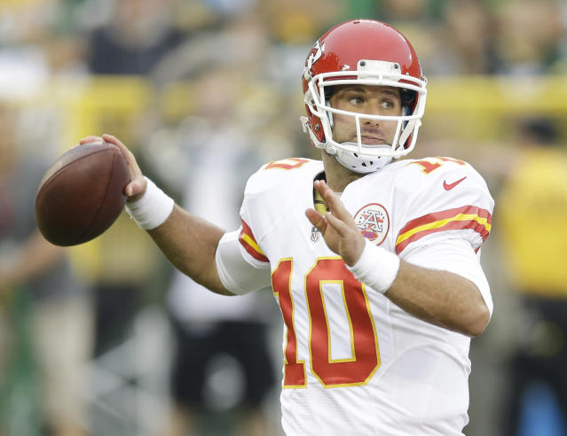 Kansas City Chiefs quarterback Chase Daniel throws during the first half of an NFL football preseason game against the Green Bay Packers Thursday, Aug. 28, 2014, in Green Bay, Wis. (AP Photo/Tom Lynn)