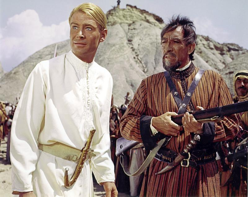 Irish actor Peter O'Toole and Mexican-American actor Anthony Quinn on the set of Lawrence of Arabia, directed by David Lean. (Photo by Sunset Boulevard/Corbis via Getty Images)