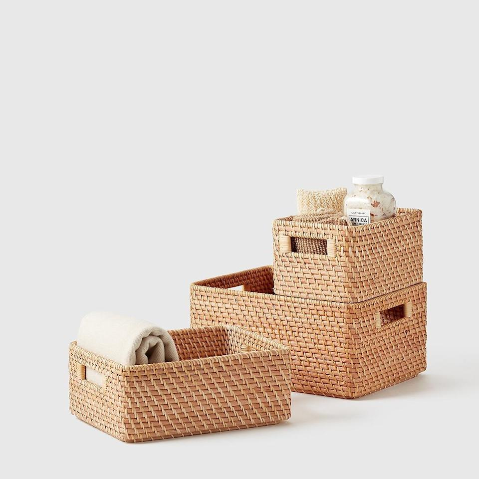 <p>You can use these <span>Marie Kondo Ori Rattan Honey Natural Curved Bins</span> ($30-$40) so many ways.</p>