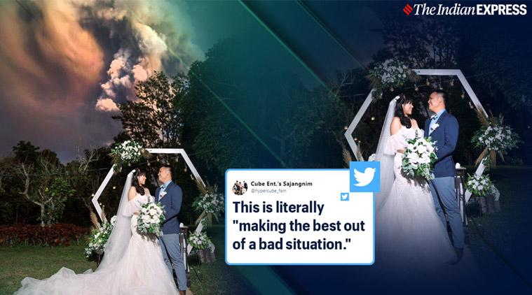 taal volcano, taal volcano eruption, taal volcano wedding photos, couple wedding volanic eruption, unusual wedding photos, viral news, indian express,