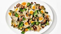 """Pesto is the shortcut to all the cheesy, herby flavor in this tasty potato salad. <a href=""""https://www.bonappetit.com/recipe/pesto-potato-salad?mbid=synd_yahoo_rss"""" rel=""""nofollow noopener"""" target=""""_blank"""" data-ylk=""""slk:See recipe."""" class=""""link rapid-noclick-resp"""">See recipe.</a>"""