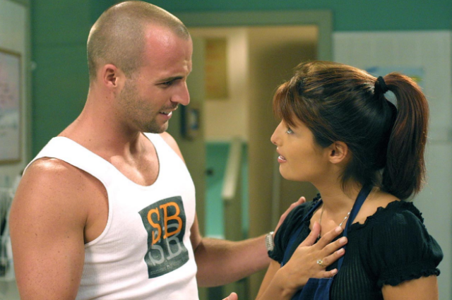 A photo of actors Ben Unwin and Ada Nicodemou on set of the Channel 7 TV soap Home and Away. Photo: Channel Seven