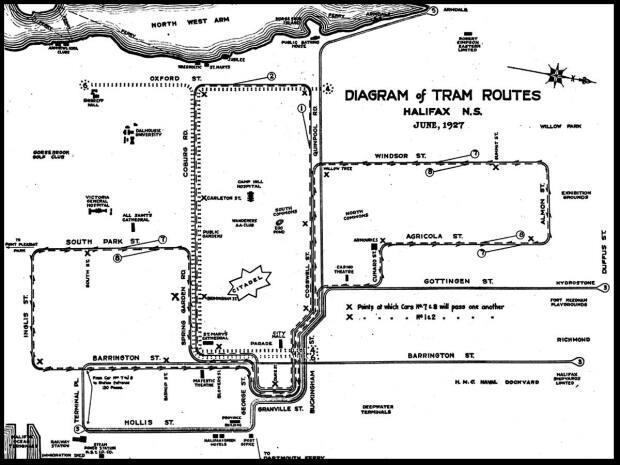 A map of tram routes from 1927 shows how important the streetcars were to get people into the downtown area. (Halifax Municipal Archives - image credit)