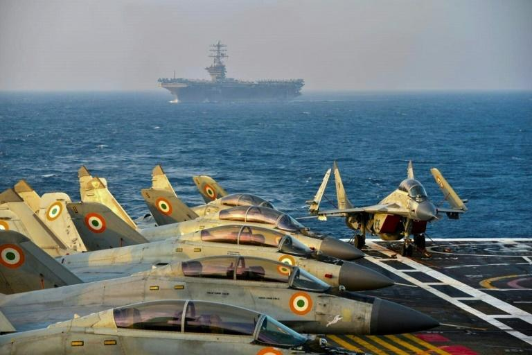 Indian army fighter jets on the deck on an aircraft carrier during joint exercises with Australia, Japan and the United States in November 2020 in the Arabian Sea