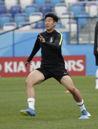 South Korea's Son Heung-min attends during South Korea's official training on the eve of the group F match between Sweden and South Korea at the 2018 soccer World Cup in the Nizhny Novgorod stadium in Nizhny Novgorod, Russia, Sunday, June 17, 2018. (AP Photo/Lee Jin-man)