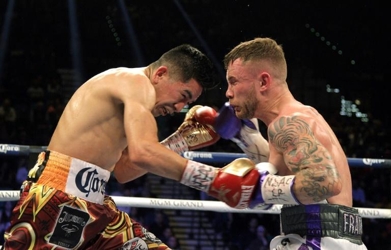 Leo Santa Cruz (L) and Carl Frampton (R), pictured in January 2017, firght during their WBC Super Featherweight title fight at the MGM Grand Arena in Las Vegas where Santa Cruz won a majority decision