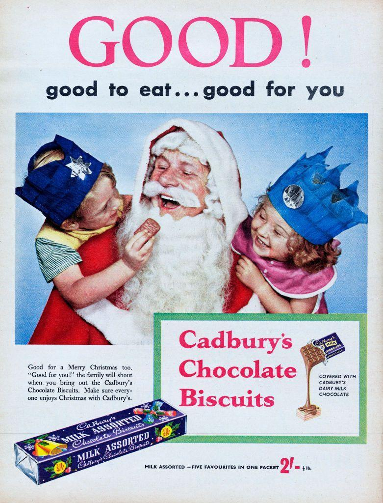 "<p>Originally published on December 10, 1956, this advert reads ""Good To Eat...Good For You"" and suggests that the ""family will shout when you bring out the Cadbury's Chocolate Biscuits."" </p>"
