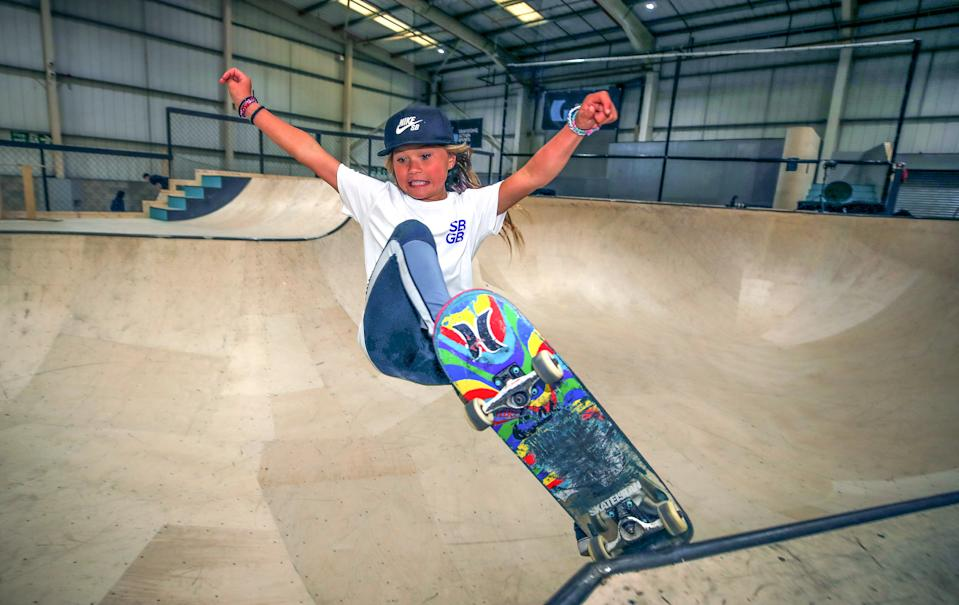 Sky Brown, 10, from Miyazaki in Japan during the Skateboard GB Team Announcement at the Graystone Action Academy, Manchester. (Photo by Peter Byrne/PA Images via Getty Images)