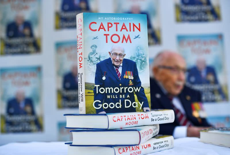 Captain Sir Tom Moore launches his autobiography at his home in Milton Keynes