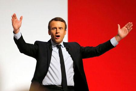 Emmanuel Macron, head of the political movement En Marche !, or Onwards !, and candidate for the 2017 presidential election, attends a campaign rally in Chatellerault