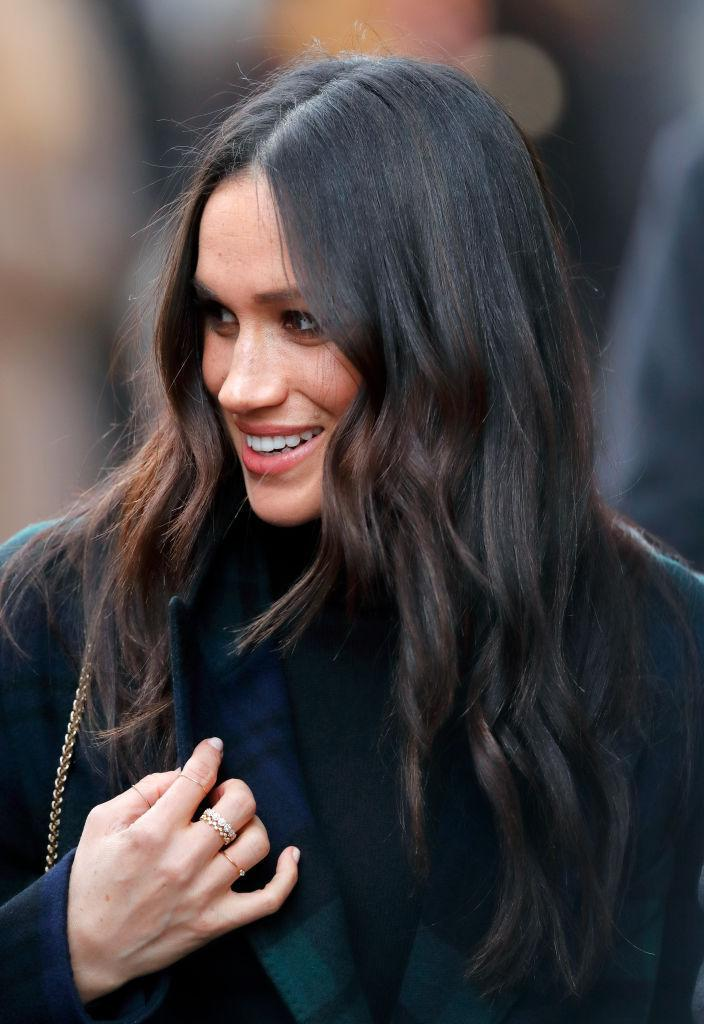 """<p>When it comes to accessorising, Meghan Markle doesn't hold back. Eschewing royal tradition, the former actress is regularly spotted donning multiple rings and co-ordinating earrings. But fans were surprised to learn that she is a firm believer in the high street, as she was photographed wearing a £45 ring by Missoma during her debut trip to Edinburgh. Donned amongst other stacked beauties, the 36-year-old finished the look with the label's Interstellar number. Oh, and it's still in stock. Hurrah! <a rel=""""nofollow noopener"""" href=""""https://www.missoma.com/rings/everyday-rings/gold-round-pave-interstellar-ring/3817/"""" target=""""_blank"""" data-ylk=""""slk:Shop now"""" class=""""link rapid-noclick-resp""""><em>Shop now</em></a>. </p>"""