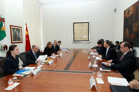 Mexico's Foreign Minister Claudia Ruiz Massieu (3rd L) and Chinese State Councilor Yang Jiechi (2nd R) attend a private meeting at the foreign ministry building (SRE), in Mexico City