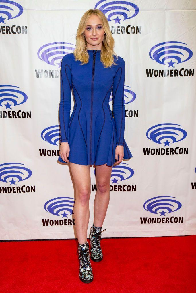 <p>To attend the fan convention in Anaheim, California, Turner wore a blue skater dress by Mugler.</p>